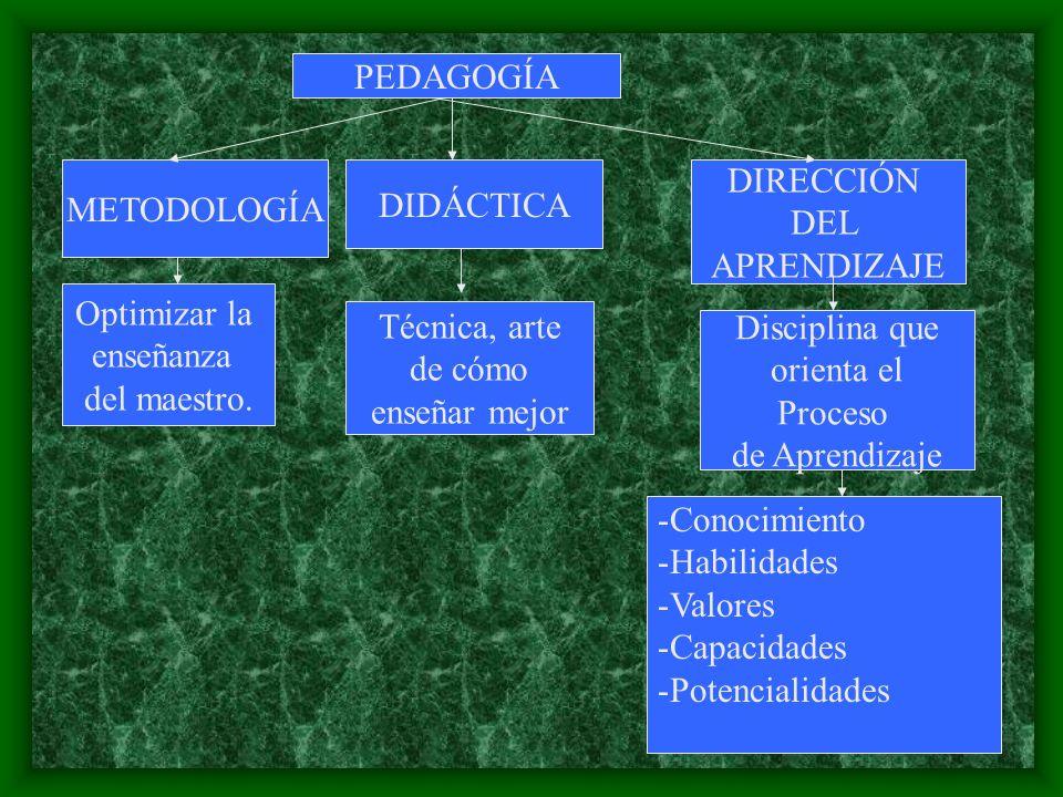 PEDAGOGÍA METODOLOGÍA Técnica, arte de cómo enseñar mejor DIDÁCTICA Optimizar la enseñanza del maestro. DIRECCIÓN DEL APRENDIZAJE Disciplina que orien