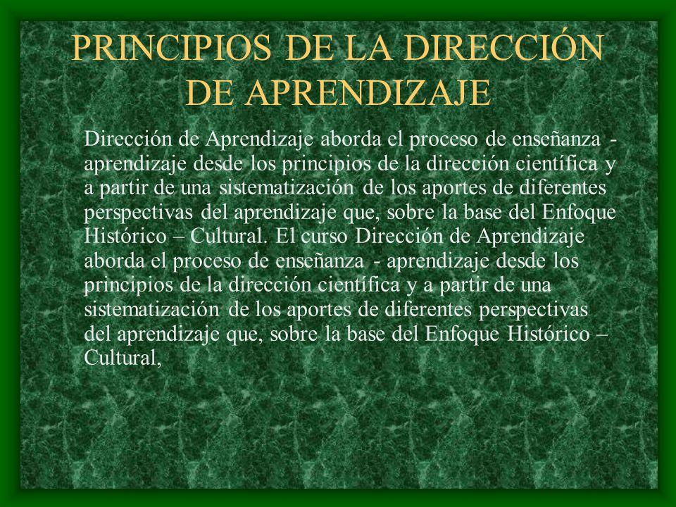 PRINCIPIOS DE LA DIRECCIÓN DE APRENDIZAJE Dirección de Aprendizaje aborda el proceso de enseñanza - aprendizaje desde los principios de la dirección c