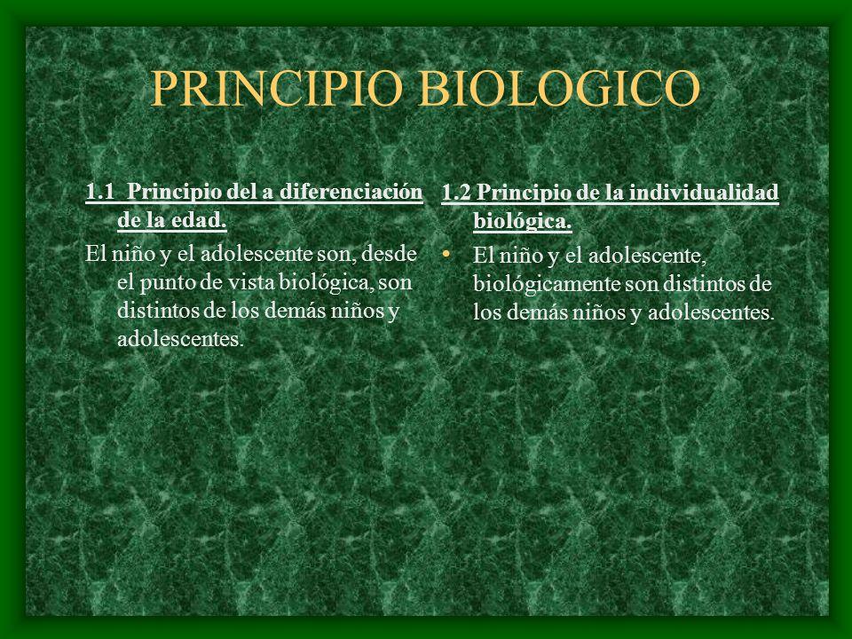 PRINCIPIO BIOLOGICO 1.1 Principio del a diferenciación de la edad. El niño y el adolescente son, desde el punto de vista biológica, son distintos de l