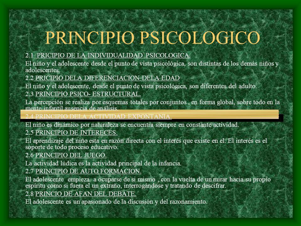 PRINCIPIO PSICOLOGICO 2.1 PRICIPIO DE LA INDIVIDUALIDAD PSICOLOGICA. El niño y el adolescente desde el punto de vista psicológica, son distintas de lo