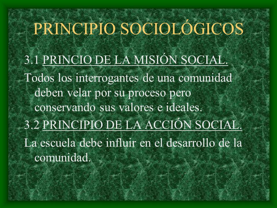 PRINCIPIO SOCIOLÓGICOS 3.1 PRINCIO DE LA MISIÓN SOCIAL. Todos los interrogantes de una comunidad deben velar por su proceso pero conservando sus valor