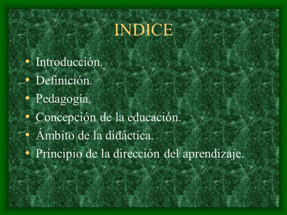 INDICE Introducción. Definición. Pedagogía. Concepción de la educación. Ámbito de la didáctica. Principio de la dirección del aprendizaje.