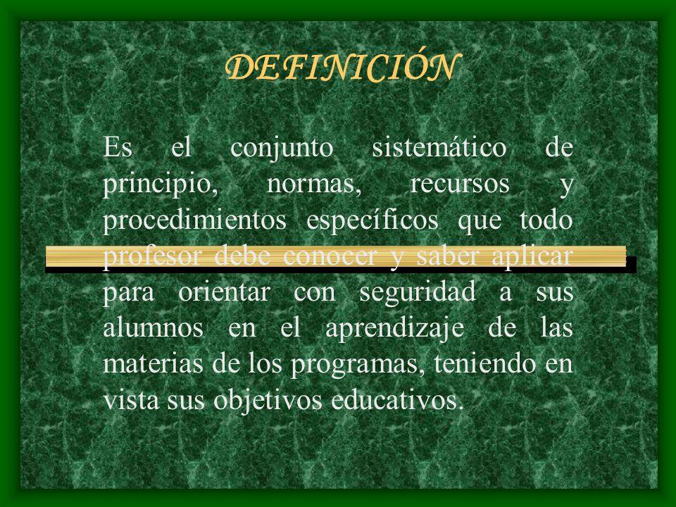 DEFINICIÓN Es el conjunto sistemático de principio, normas, recursos y procedimientos específicos que todo profesor debe conocer y saber aplicar para