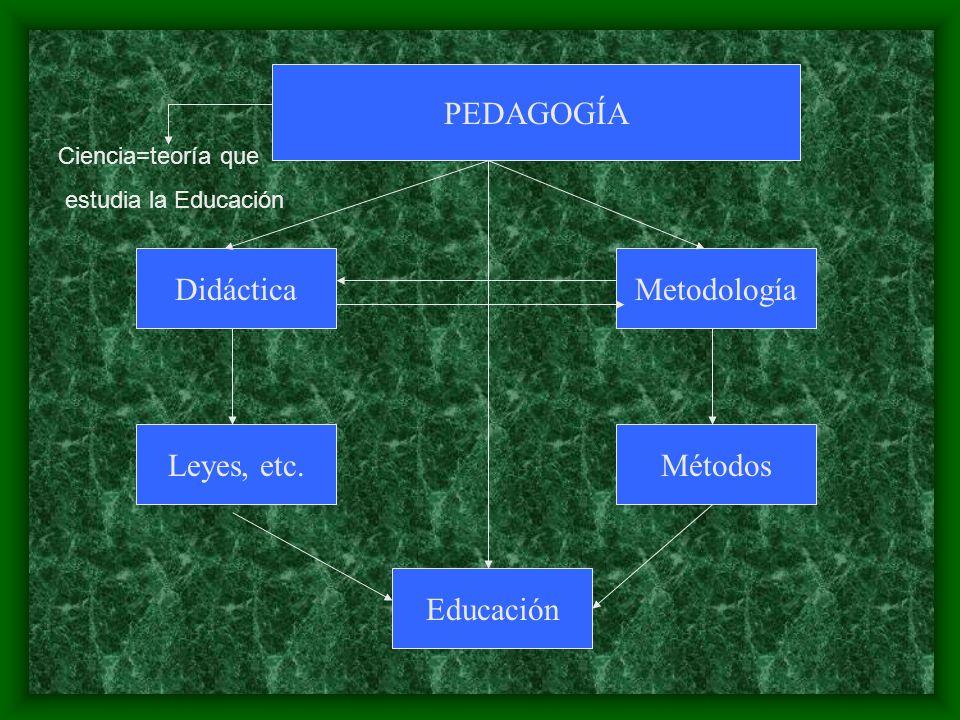 PEDAGOGÍA Didáctica Educación Metodología Leyes, etc.Métodos Ciencia=teoría que estudia la Educación