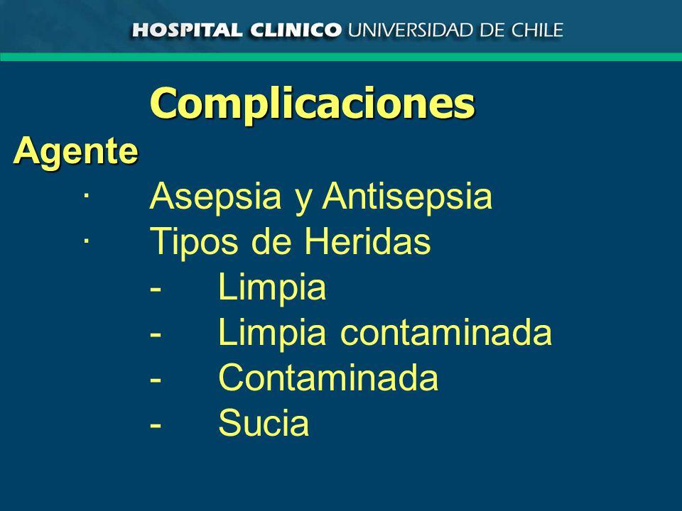 ComplicacionesAgente ·Asepsia y Antisepsia ·Tipos de Heridas -Limpia -Limpia contaminada -Contaminada -Sucia
