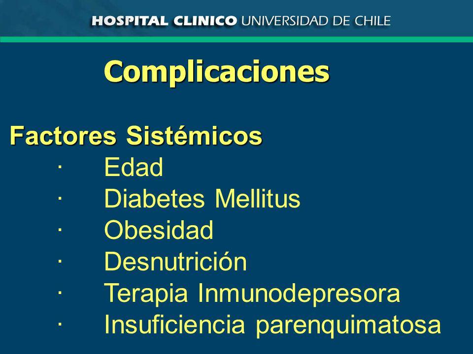 Complicaciones Factores Sistémicos ·Edad ·Diabetes Mellitus ·Obesidad ·Desnutrición ·Terapia Inmunodepresora ·Insuficiencia parenquimatosa