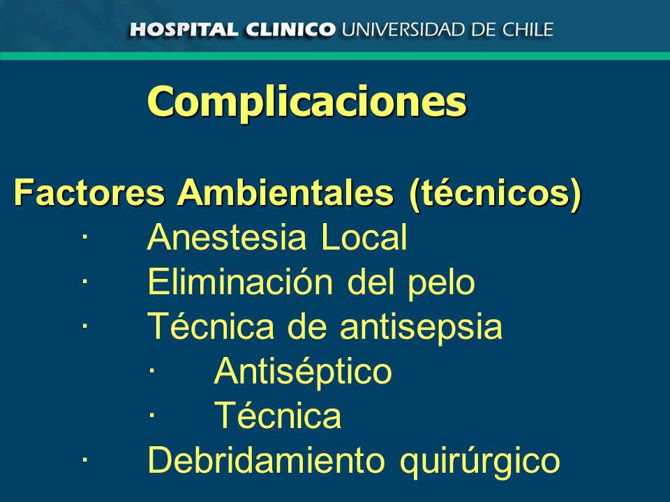 Complicaciones Factores Ambientales (técnicos) ·Anestesia Local ·Eliminación del pelo ·Técnica de antisepsia ·Antiséptico ·Técnica ·Debridamiento quirúrgico