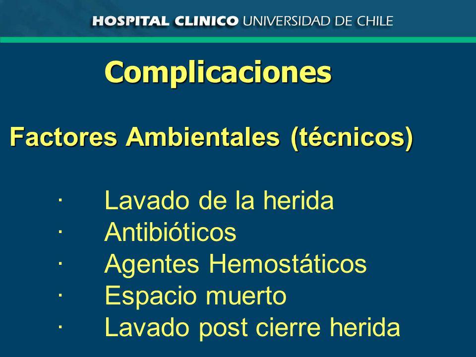 Complicaciones Factores Ambientales (técnicos) ·Lavado de la herida ·Antibióticos ·Agentes Hemostáticos ·Espacio muerto ·Lavado post cierre herida
