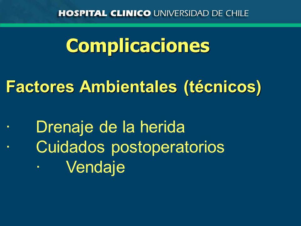 Complicaciones Factores Ambientales (técnicos) ·Drenaje de la herida ·Cuidados postoperatorios ·Vendaje