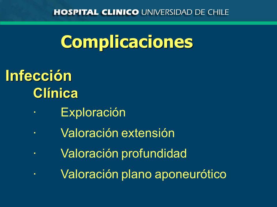 ComplicacionesInfecciónClínica ·Exploración ·Valoración extensión ·Valoración profundidad ·Valoración plano aponeurótico