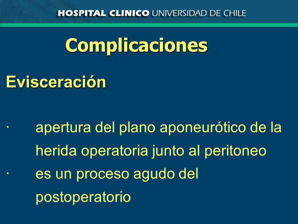 ComplicacionesEvisceración ·apertura del plano aponeurótico de la herida operatoria junto al peritoneo ·es un proceso agudo del postoperatorio
