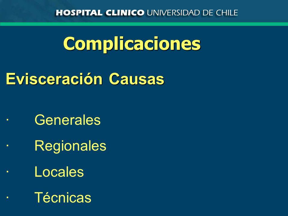 Complicaciones Evisceración Causas ·Generales ·Regionales ·Locales ·Técnicas