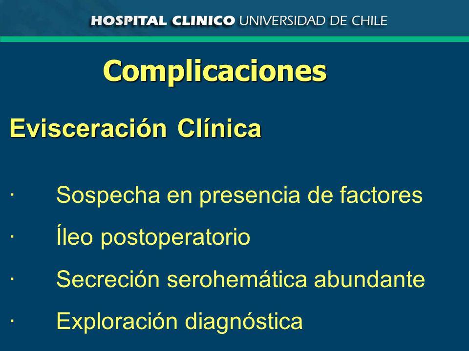 Complicaciones Evisceración Clínica ·Sospecha en presencia de factores ·Íleo postoperatorio ·Secreción serohemática abundante ·Exploración diagnóstica