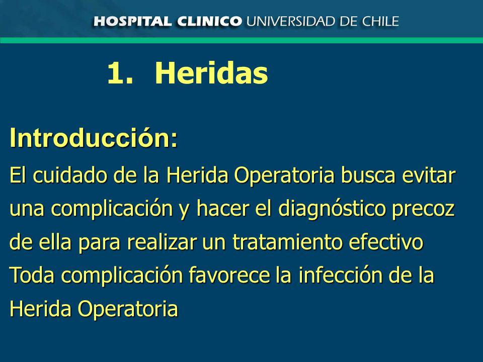 Introducción: El cuidado de la Herida Operatoria busca evitar una complicación y hacer el diagnóstico precoz de ella para realizar un tratamiento efectivo Toda complicación favorece la infección de la Herida Operatoria