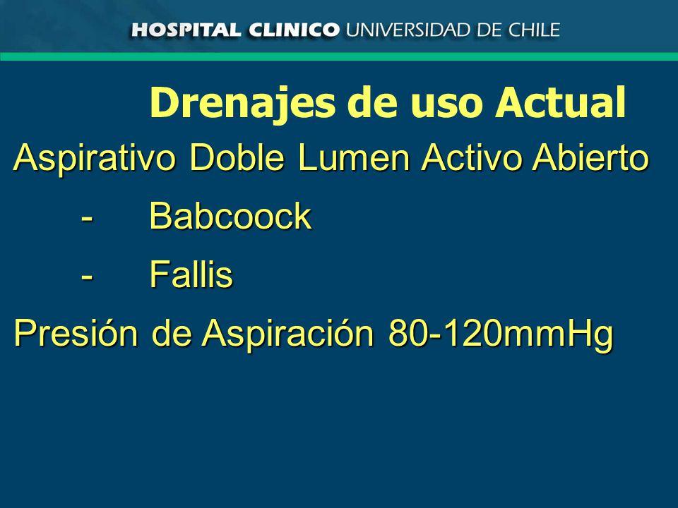 Drenajes de uso Actual Aspirativo Doble Lumen Activo Abierto -Babcoock -Fallis Presión de Aspiración 80-120mmHg
