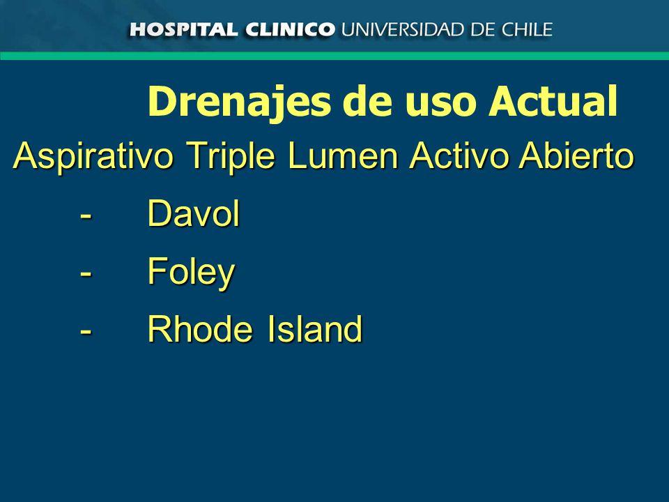 Drenajes de uso Actual Aspirativo Triple Lumen Activo Abierto -Davol -Foley -Rhode Island