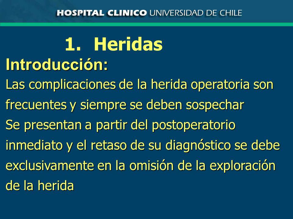 1.HeridasIntroducción: La sospecha de una complicación de la herida operatoria siempre implica la exploración completa y meticulosa de ella no importando el tiempo que media desde la cirugía o la apariencia externa inocente de la herida