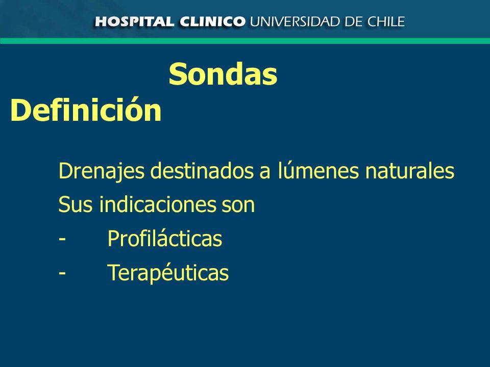 Sondas Definición Drenajes destinados a lúmenes naturales Sus indicaciones son -Profilácticas -Terapéuticas