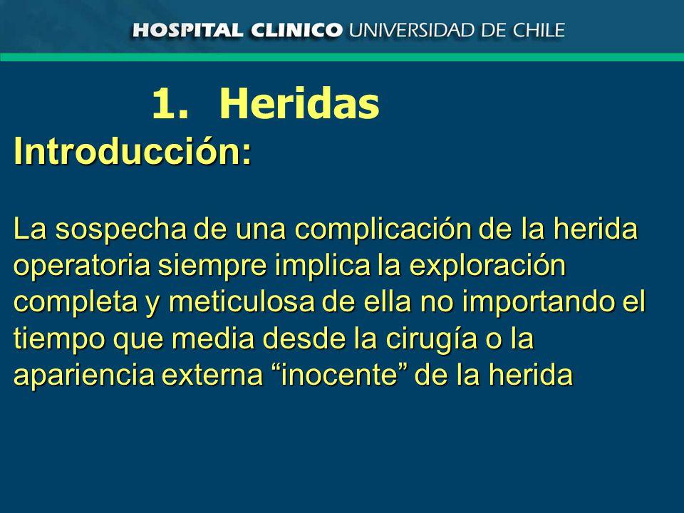 Drenajes Complicaciones ·Ineficiencia ·Prolapso visceral ·Obstrucción Intestinal ·Lesión de estructuras adyacentes ·Infección del trayecto ·Infección de la cavidad ·Migración a zona vecina o alejada ·Hernia Incisional