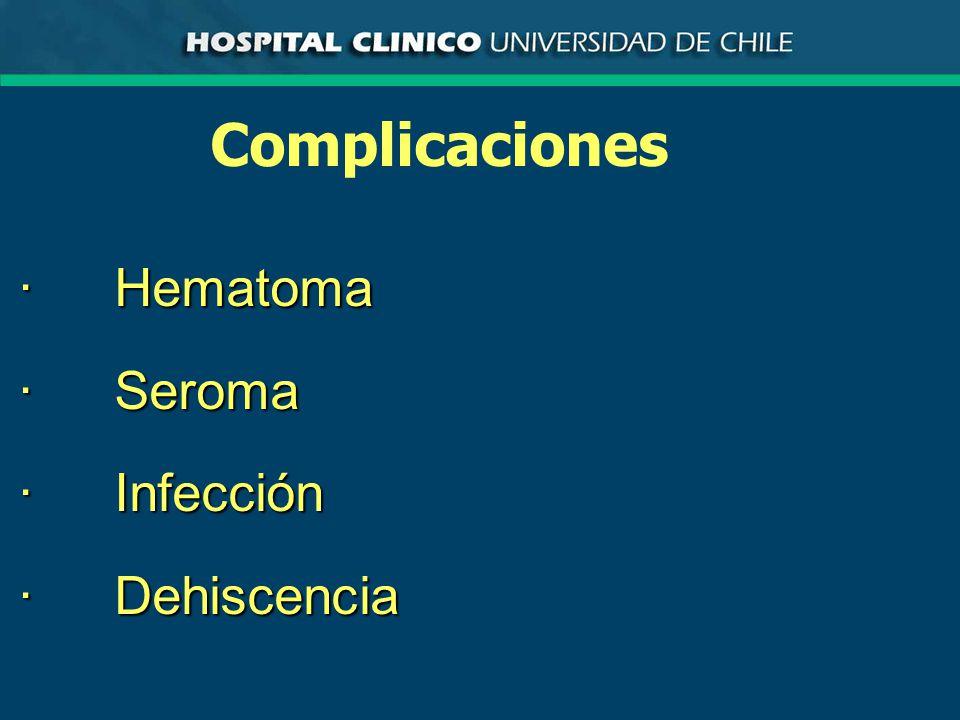 ComplicacionesHematoma ·Se produce por hemostasia deficiente o por alteraciones de la coagulación ·El diagnóstico se establece en base a la presencia de sangre que mancha el apósito, aumento de volumen de la herida y el descubrimiento de coágulos en la herida al explorarla