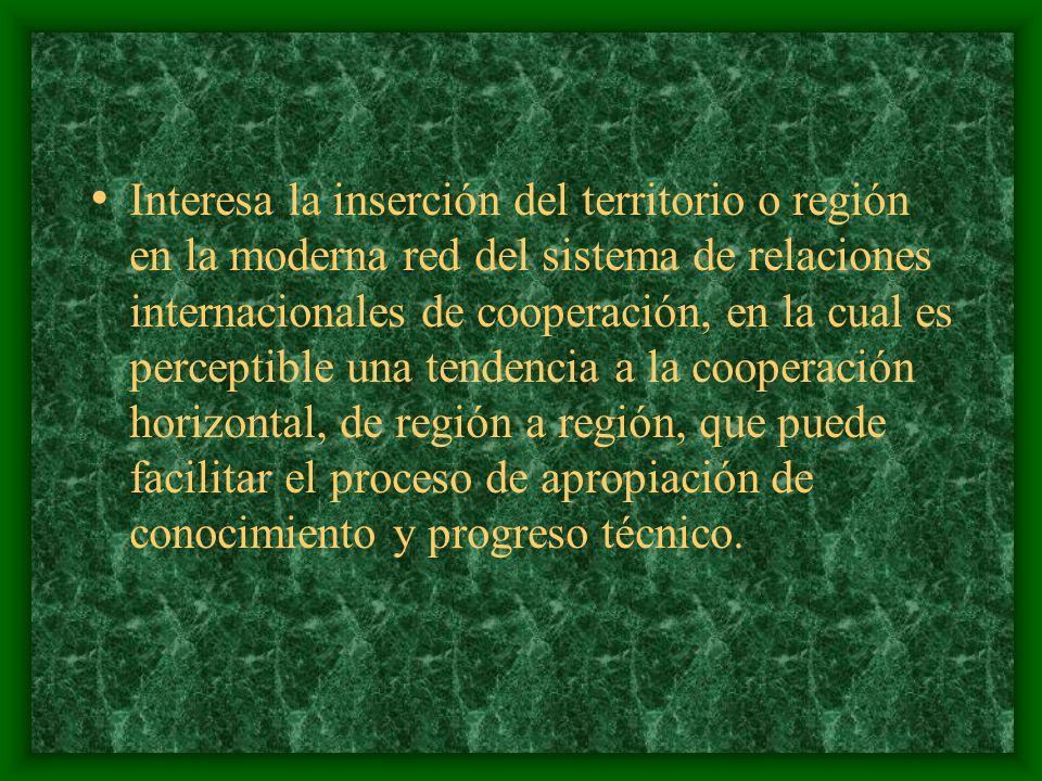 También es importante la inserción de la región en el mercado internacional, proporción de sus exportaciones sobre el PIB, destino geográfico de ellas y sobre todo, el tipo de bien o servicio transado, ya que será muy diferente el potencial de desarrollo en función precisamente del conocimiento exportado.