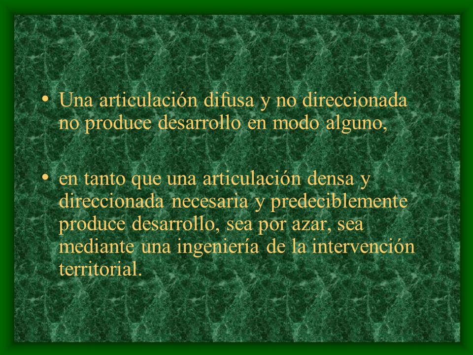 Los seis factores del desarrollo territorial identificados, pueden mostrar dos formas alternativas de articulación: Por una parte, pueden asociarse entre sí de una manera difusa y no direccionada, una sinapsis débil que no conduce a parte alguna.