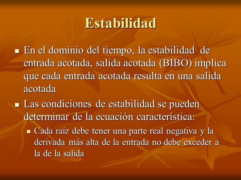 Estabilidad En el dominio del tiempo, la estabilidad de entrada acotada, salida acotada (BIBO) implica que cada entrada acotada resulta en una salida
