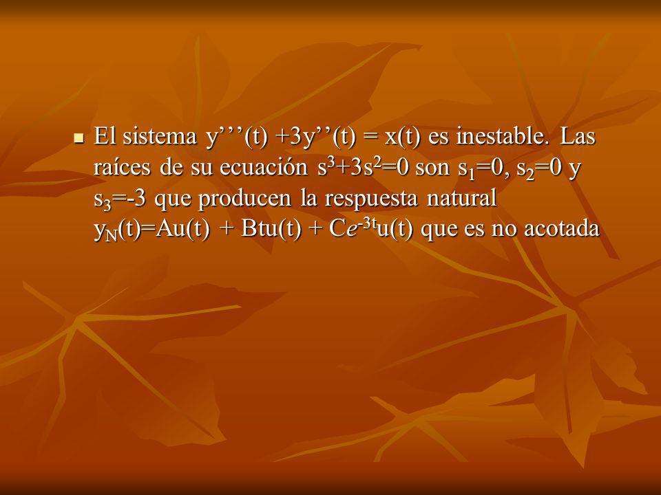 El sistema y(t) +3y(t) = x(t) es inestable. Las raíces de su ecuación s 3 +3s 2 =0 son s 1 =0, s 2 =0 y s 3 =-3 que producen la respuesta natural y N