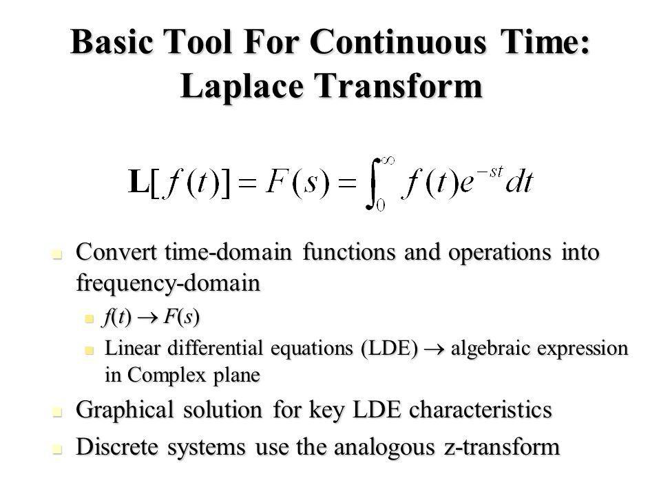 Basic Tool For Continuous Time: Laplace Transform Convert time-domain functions and operations into frequency-domain Convert time-domain functions and