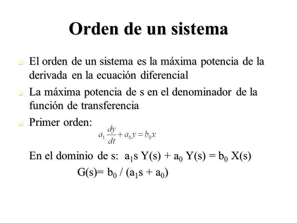 Orden de un sistema El orden de un sistema es la máxima potencia de la derivada en la ecuación diferencial El orden de un sistema es la máxima potenci