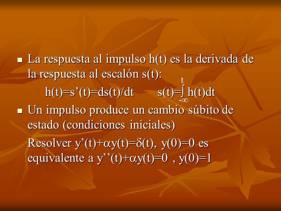 La respuesta al impulso h(t) es la derivada de la respuesta al escalón s(t): La respuesta al impulso h(t) es la derivada de la respuesta al escalón s(