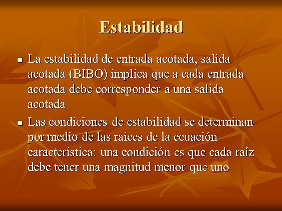Estabilidad La estabilidad de entrada acotada, salida acotada (BIBO) implica que a cada entrada acotada debe corresponder a una salida acotada La esta