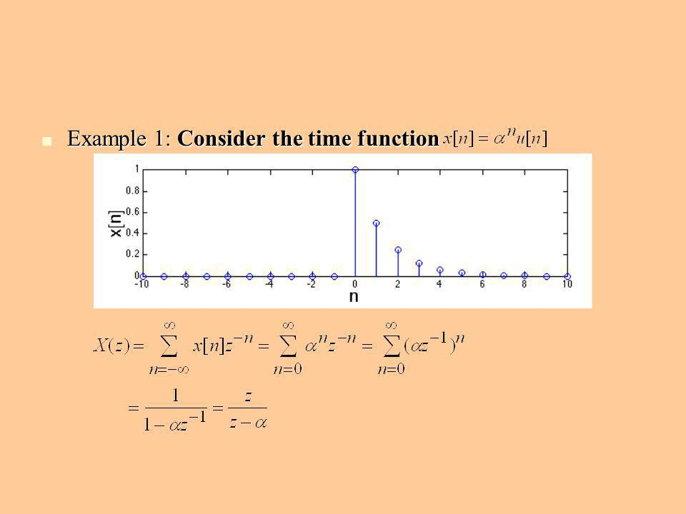 Example 1: Consider the time function Example 1: Consider the time function