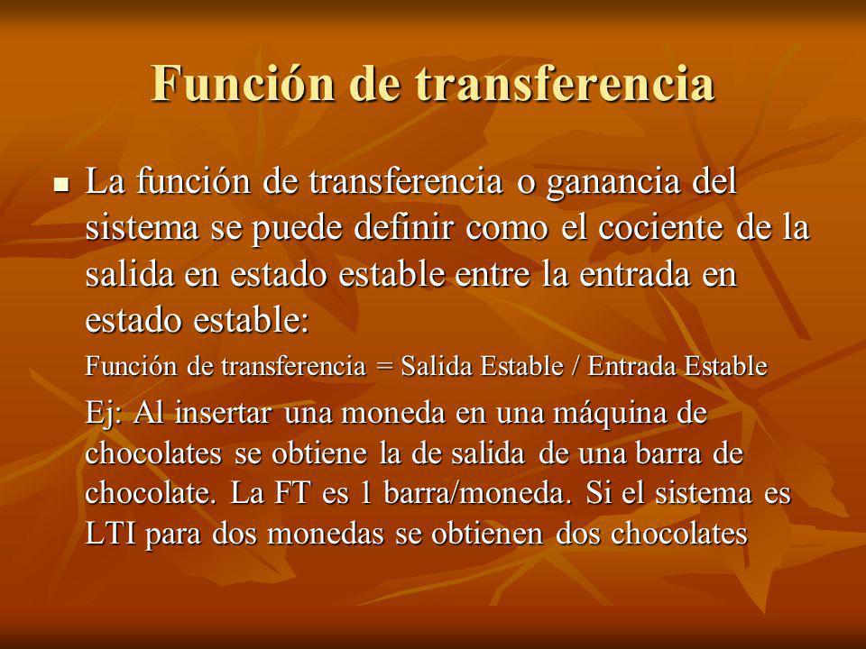 Función de transferencia La función de transferencia o ganancia del sistema se puede definir como el cociente de la salida en estado estable entre la