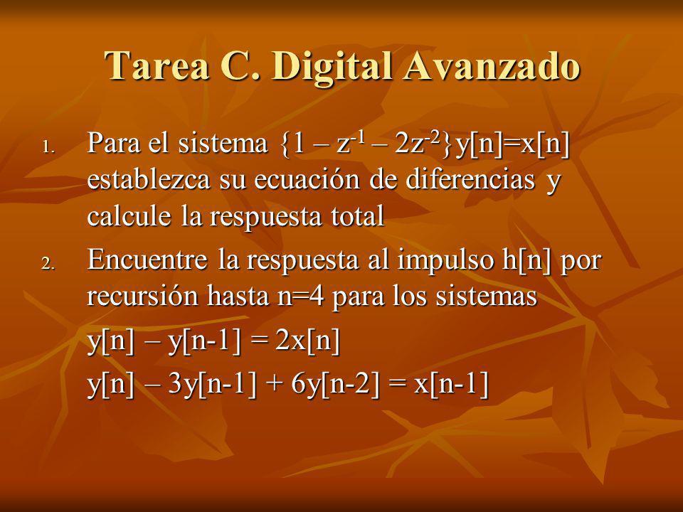 Tarea C. Digital Avanzado 1. Para el sistema {1 – z -1 – 2z -2 }y[n]=x[n] establezca su ecuación de diferencias y calcule la respuesta total 2. Encuen