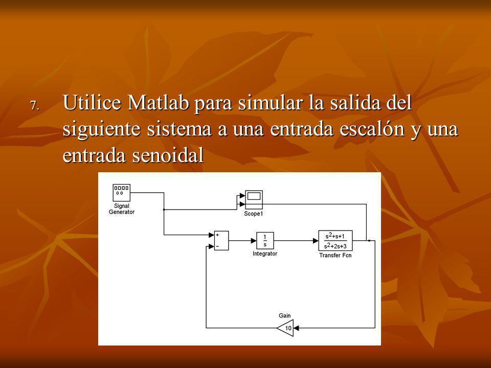 7. Utilice Matlab para simular la salida del siguiente sistema a una entrada escalón y una entrada senoidal