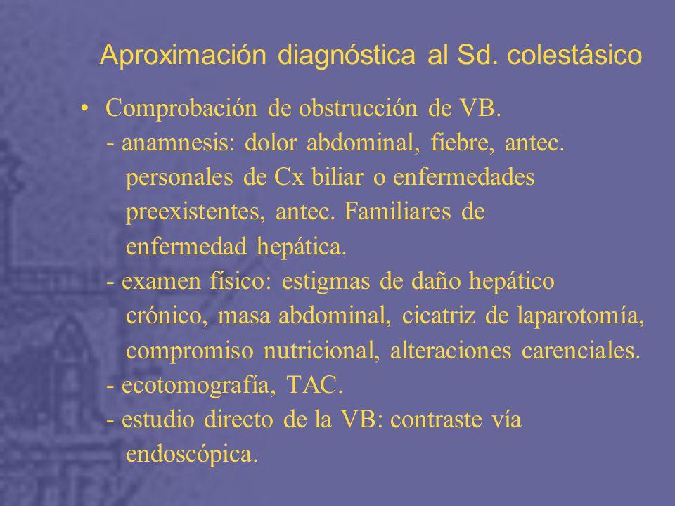 Aproximación diagnóstica al Sd.colestásico Comprobación de obstrucción de VB.