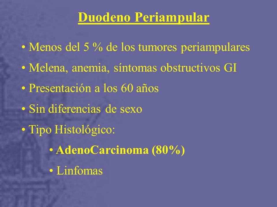 Menos del 5 % de los tumores periampulares Melena, anemia, síntomas obstructivos GI Presentación a los 60 años Sin diferencias de sexo Tipo Histológico: AdenoCarcinoma (80%) Linfomas Duodeno Periampular