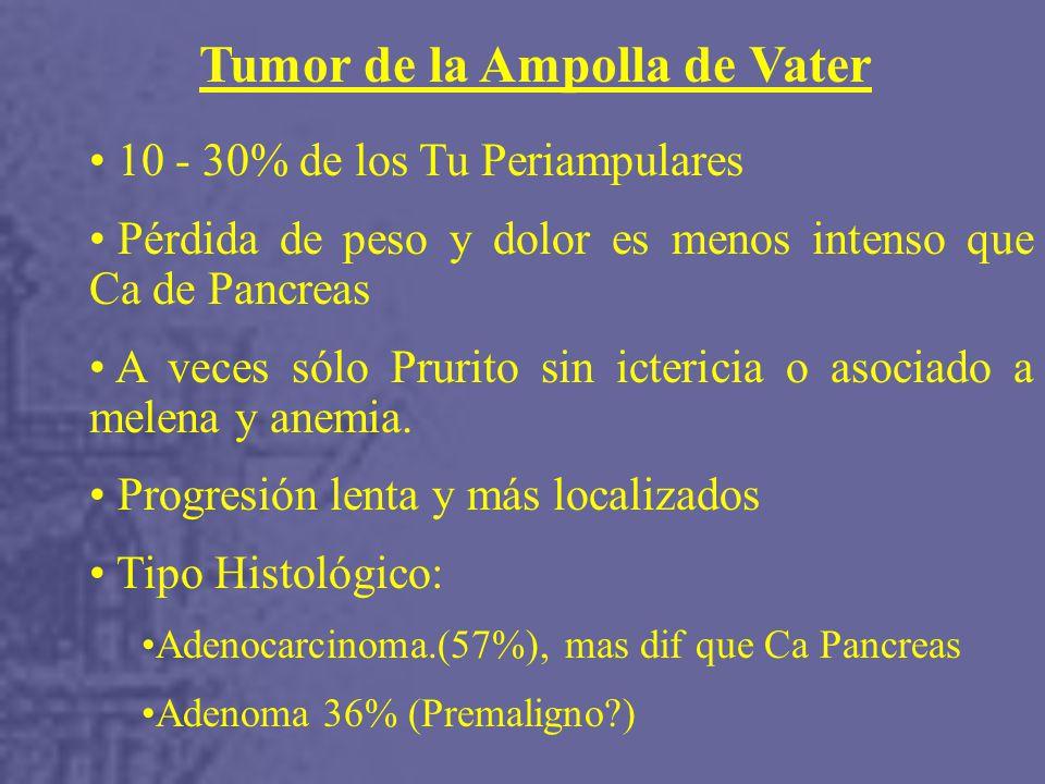 Tumor de la Ampolla de Vater 10 - 30% de los Tu Periampulares Pérdida de peso y dolor es menos intenso que Ca de Pancreas A veces sólo Prurito sin ictericia o asociado a melena y anemia.