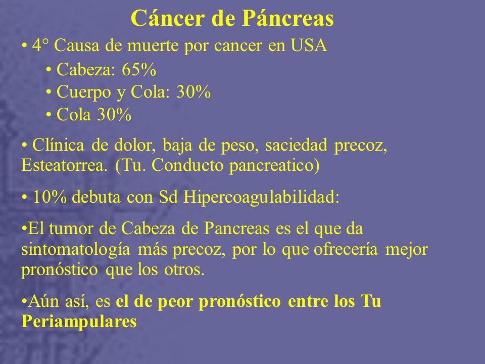 Cáncer de Páncreas 4° Causa de muerte por cancer en USA Cabeza: 65% Cuerpo y Cola: 30% Cola 30% Clínica de dolor, baja de peso, saciedad precoz, Esteatorrea.