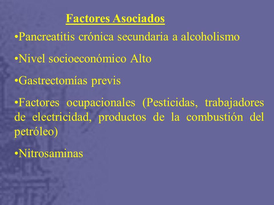 Factores Asociados Pancreatitis crónica secundaria a alcoholismo Nivel socioeconómico Alto Gastrectomías previs Factores ocupacionales (Pesticidas, trabajadores de electricidad, productos de la combustión del petróleo) Nitrosaminas