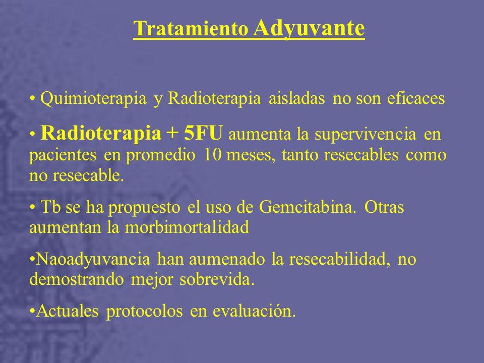 Tratamiento Adyuvante Quimioterapia y Radioterapia aisladas no son eficaces Radioterapia + 5FU aumenta la supervivencia en pacientes en promedio 10 meses, tanto resecables como no resecable.