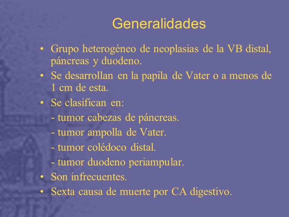 Generalidades Grupo heterogéneo de neoplasias de la VB distal, páncreas y duodeno.