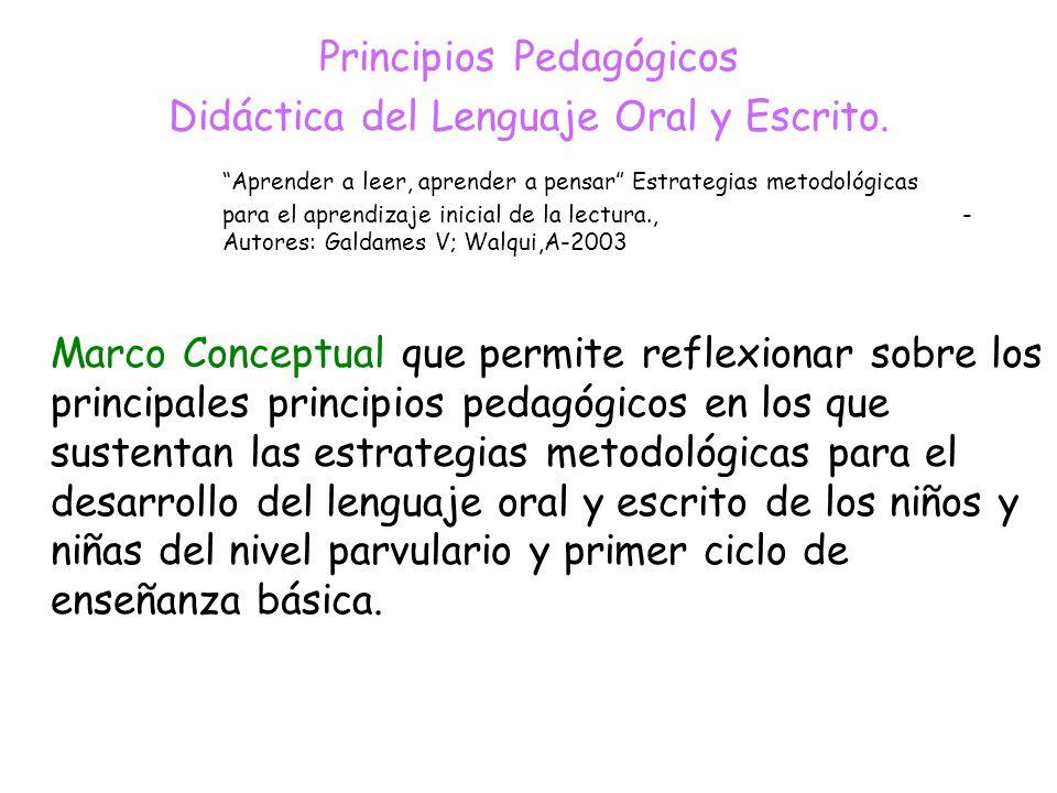 Principios Pedagógicos Didáctica del Lenguaje Oral y Escrito.