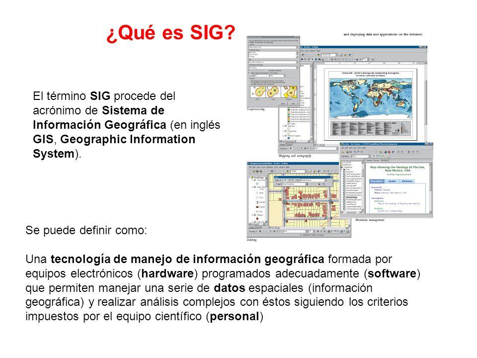 El término SIG procede del acrónimo de Sistema de Información Geográfica (en inglés GIS, Geographic Information System). Se puede definir como: Una te
