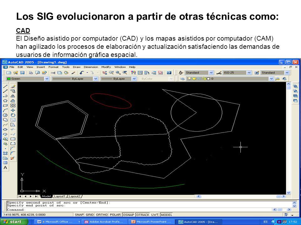 CAD El Diseño asistido por computador (CAD) y los mapas asistidos por computador (CAM) han agilizado los procesos de elaboración y actualización satis