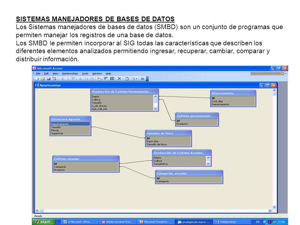 SISTEMAS MANEJADORES DE BASES DE DATOS Los Sistemas manejadores de bases de datos (SMBD) son un conjunto de programas que permiten manejar los registr