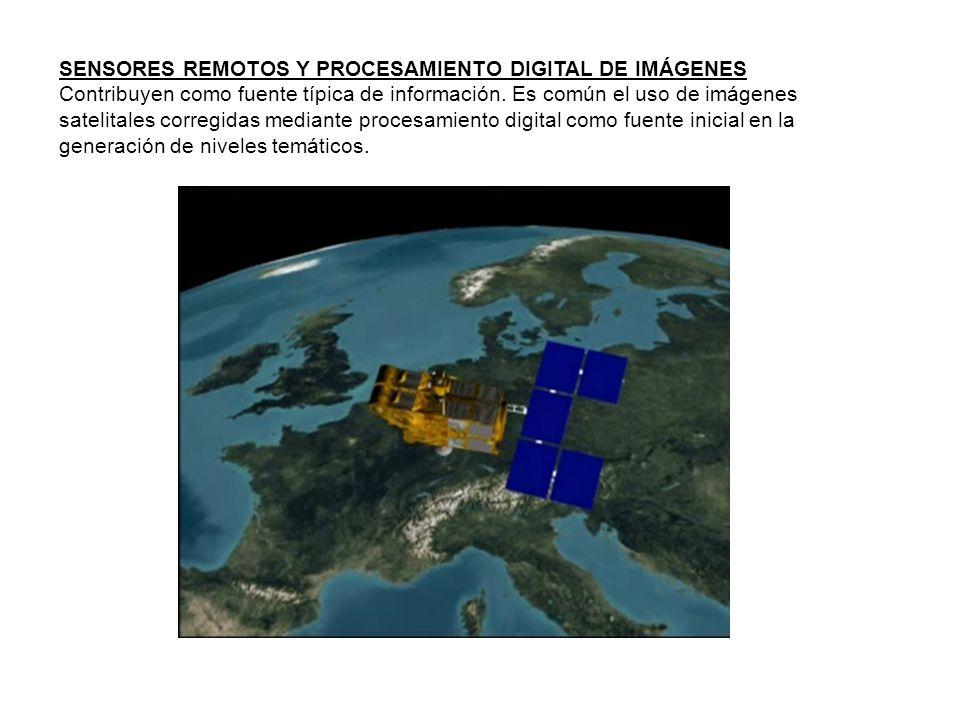 SENSORES REMOTOS Y PROCESAMIENTO DIGITAL DE IMÁGENES Contribuyen como fuente típica de información. Es común el uso de imágenes satelitales corregidas