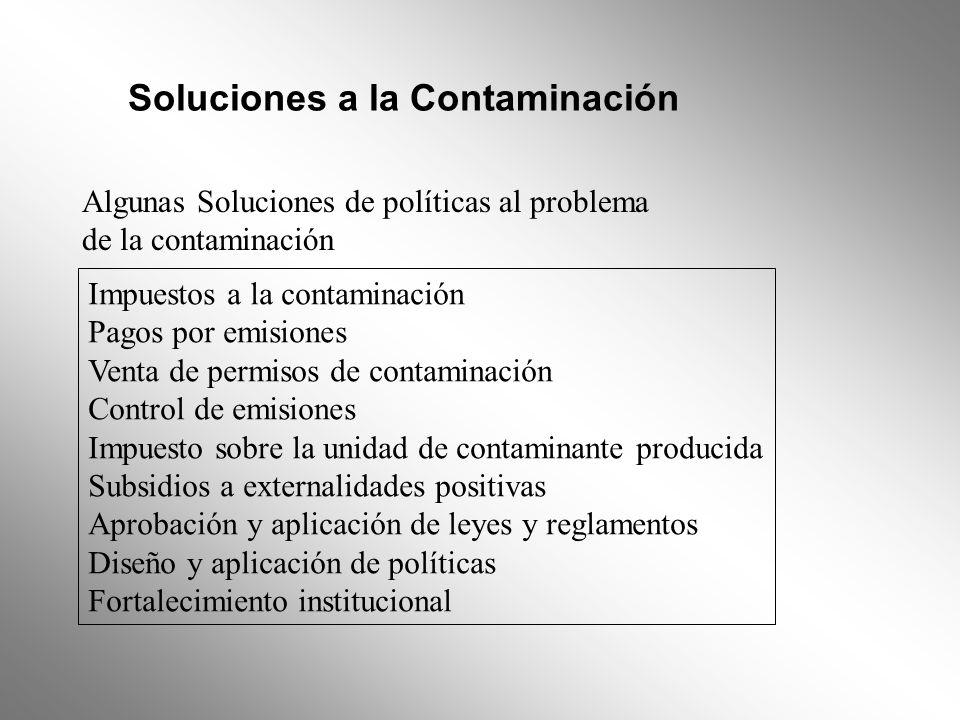 Soluciones a la Contaminación Algunas Soluciones de políticas al problema de la contaminación Impuestos a la contaminación Pagos por emisiones Venta d
