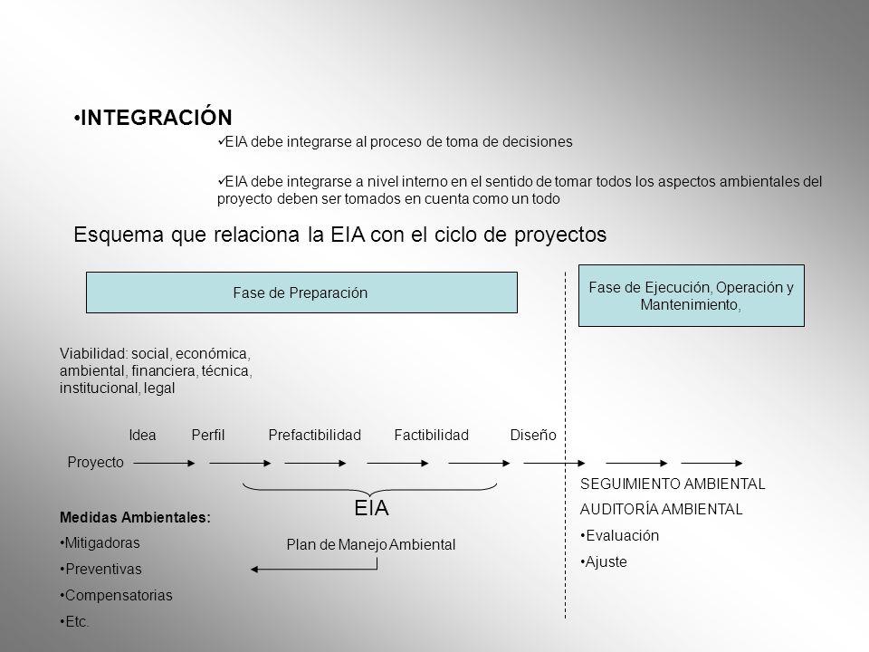 INTEGRACIÓN EIA debe integrarse al proceso de toma de decisiones EIA debe integrarse a nivel interno en el sentido de tomar todos los aspectos ambient